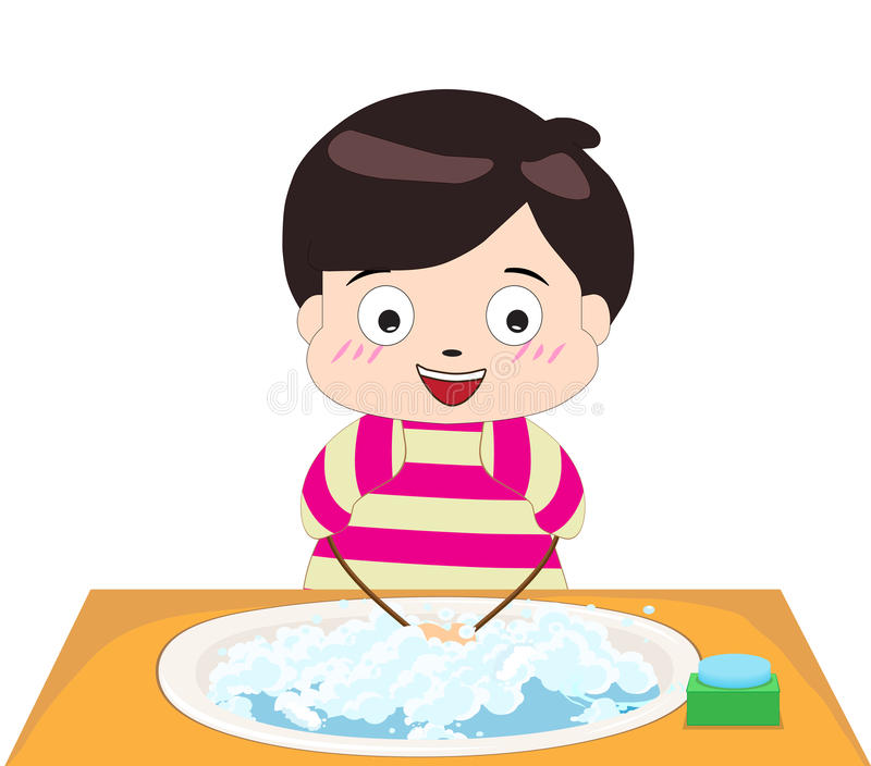 Boy washing his hands. Little boy washing his hands royalty free illustration