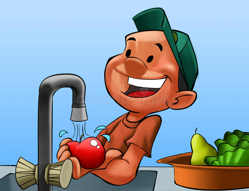 Boy washing some fruits. Boy with a hat washing some fruits in the kitchen royalty free illustration