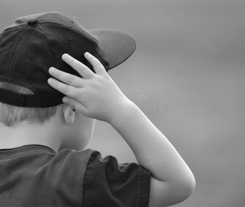 Boy Watching - b&w stock images