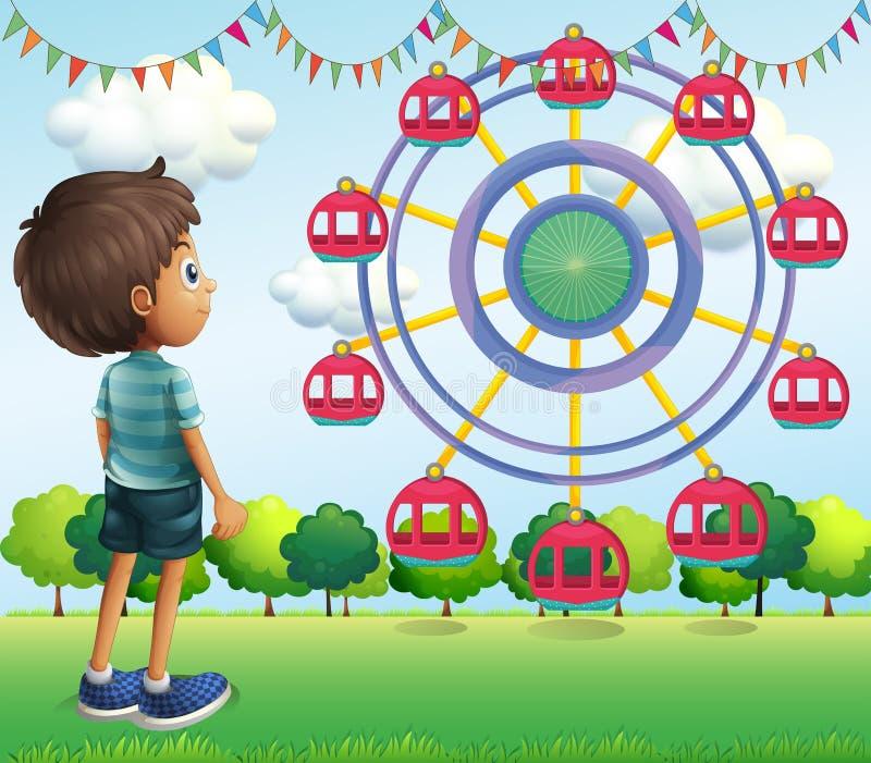 A boy watching the ferris wheels stock illustration