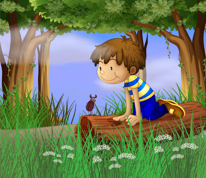 A boy watching an insect. Illustration of a boy watching an insect vector illustration