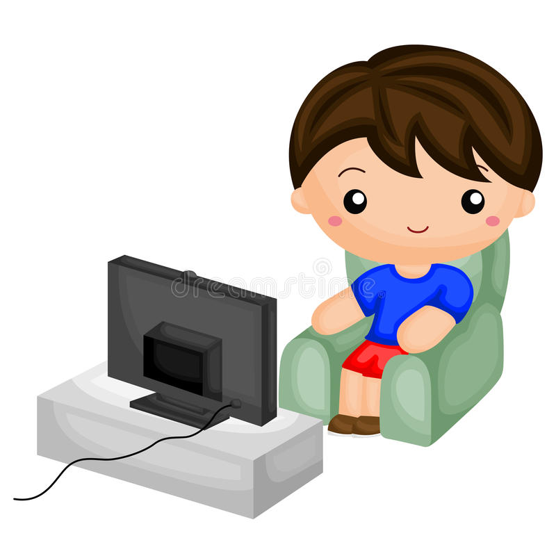 Boy watching television. A little boy watching television royalty free illustration