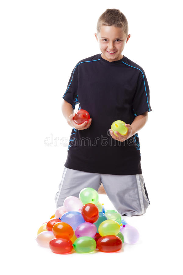 Download Boy with water balloons stock photo. Image of portrait - 28458968