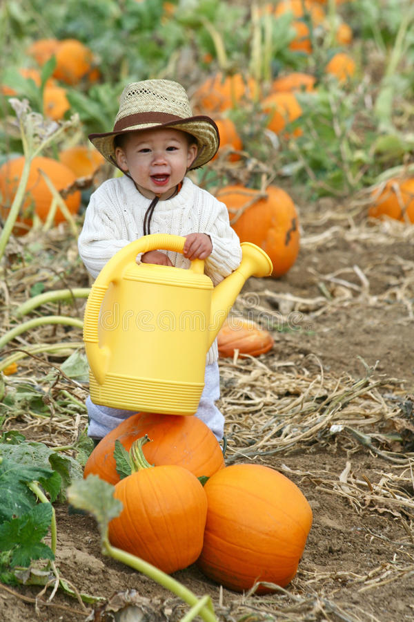 Boy with a Watering Can stock image