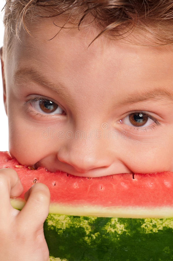 Download Boy with watermelon stock image. Image of fresh, delicious - 26800063