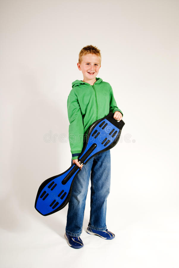Boy with waveboard stock photo
