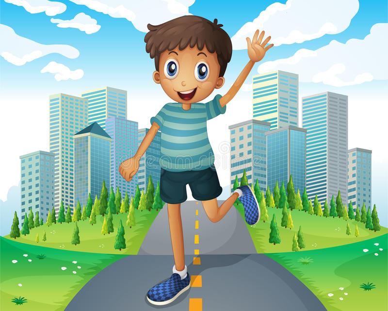 A boy waving while running in the middle of the road stock illustration