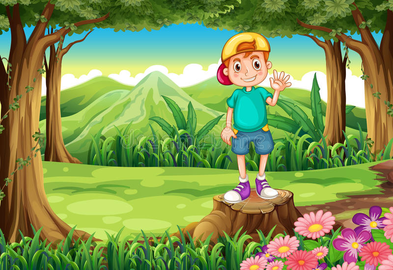 A boy waving while standing above the stump in the forest vector illustration