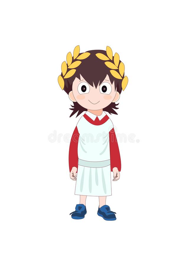 Boy wearing Ancient Rome costume for school history. Vector illustration royalty free illustration