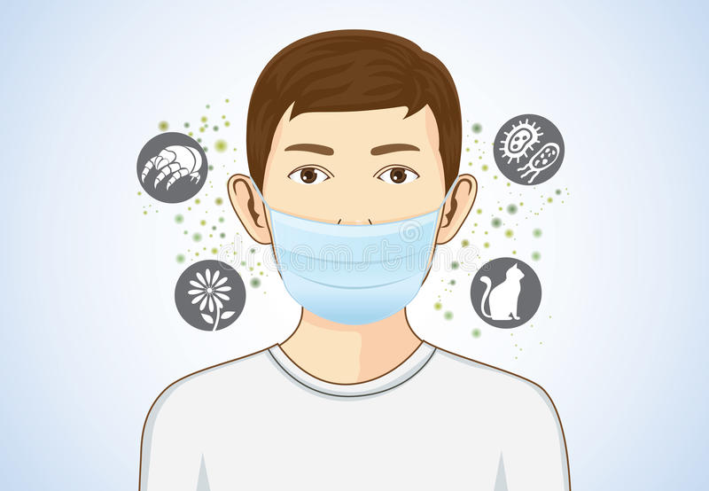 Boy wearing breath mask for protect allergic. Boy wearing breath mask for protect something that cause allergic reactions include pollen, dust particles and royalty free illustration