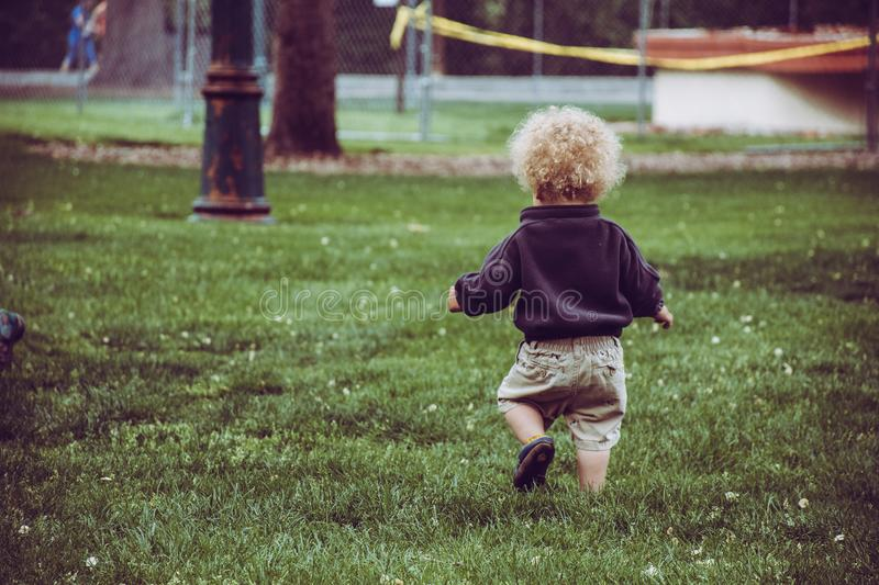 Boy Wearing Brown Shorts Standing on Green Grass royalty free stock photos