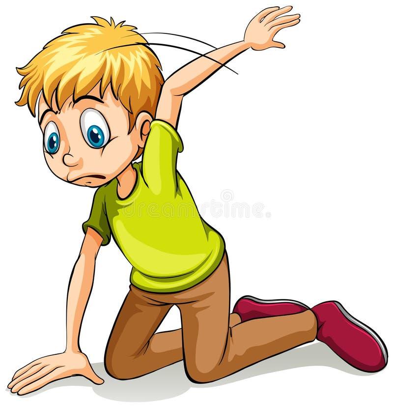 A boy wearing a green shirt vector illustration