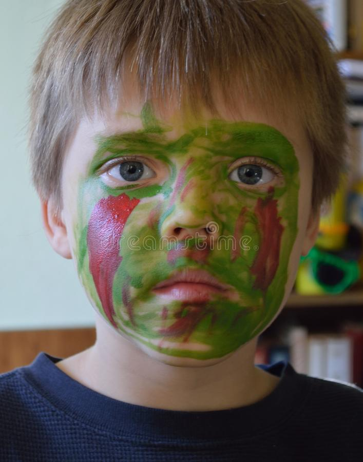 Download Boy Wearing His Zombie Face Stock Image - Image of create, colors: 104143019