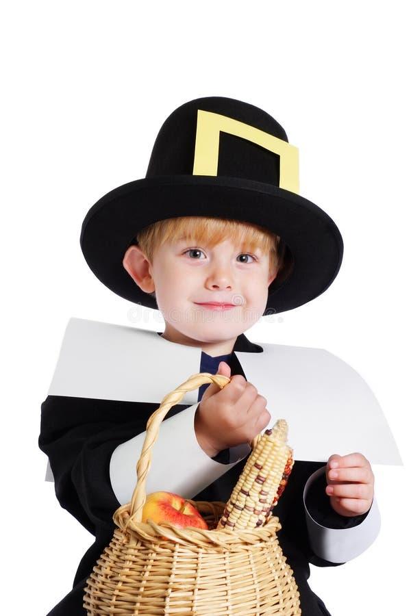 Boy wearing a Pilgrim Costume stock photo