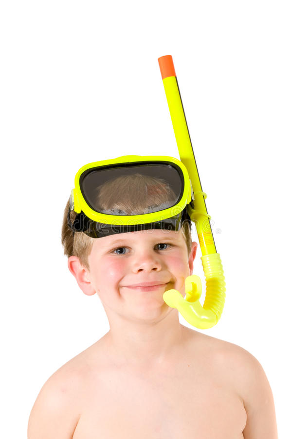 Boy wearing snorkel and mask. Closeup portrait of little boy wearing yellow mask and snorkel, smiling. Isolated on white royalty free stock image