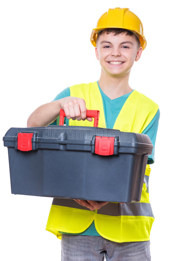 Boy wearing yellow hard hat royalty free stock images