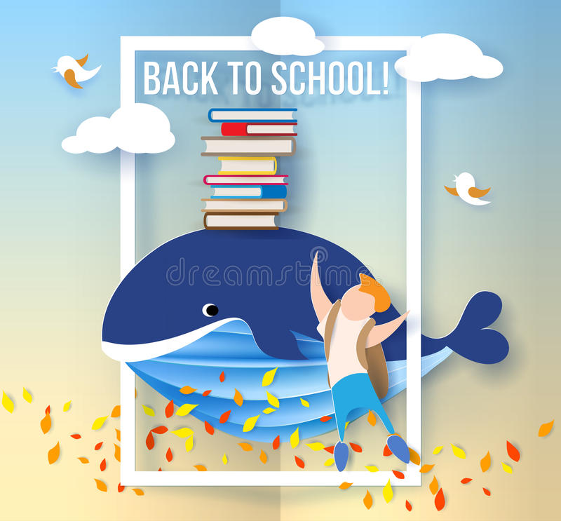 Boy and whale with books on blue sky background royalty free illustration