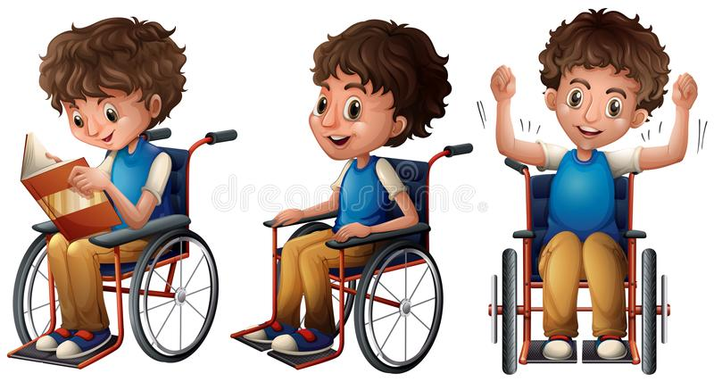 Boy in wheelchair doing three things stock illustration