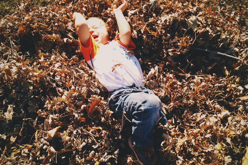 Boy In White And Red Shirt Lying On Brown Leaf During Day Time Free Public Domain Cc0 Image
