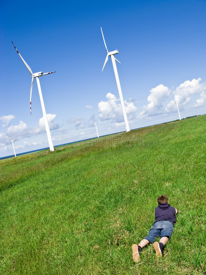 Download Boy and wind turbines stock image. Image of enormous, country - 5535307