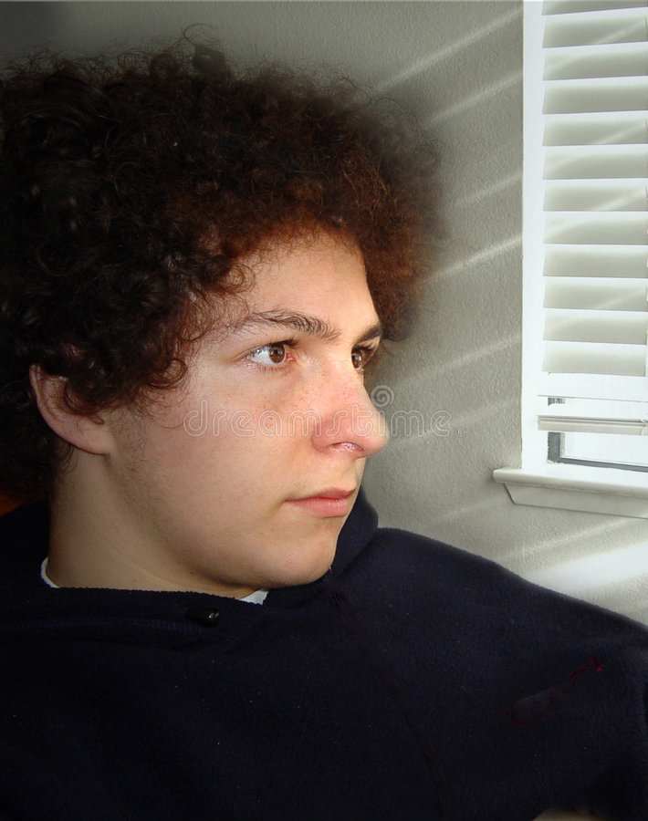Download Boy by the window stock photo. Image of homework, black - 42496