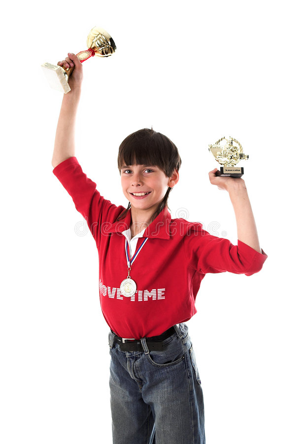 Boy winning in competition stock images