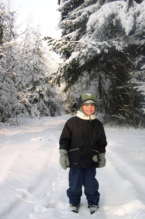 Boy in Winter stock images