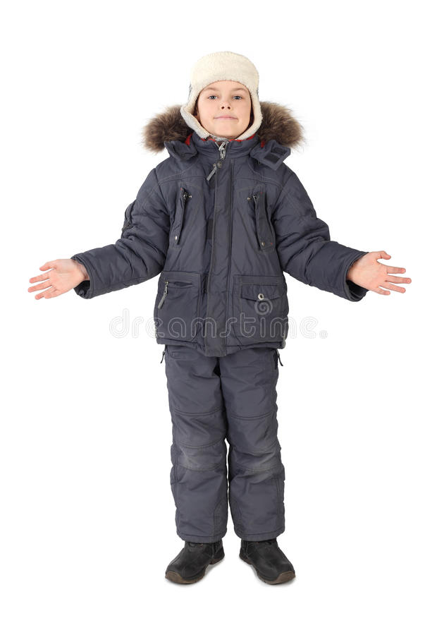 Download Boy In Winter Dress Standing Hands At Sides Royalty Free Stock Photography - Image: 14950557