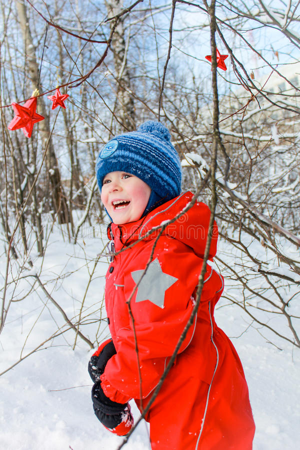 Boy in the winter forest. Boy having fun in the winter forest royalty free stock photos