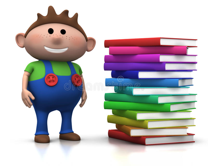 Boy wit stack of books stock illustration