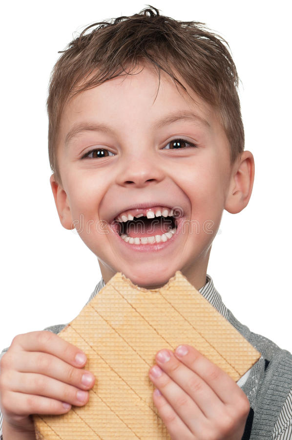 Free Boy With A Waffle Royalty Free Stock Photos - 19084628