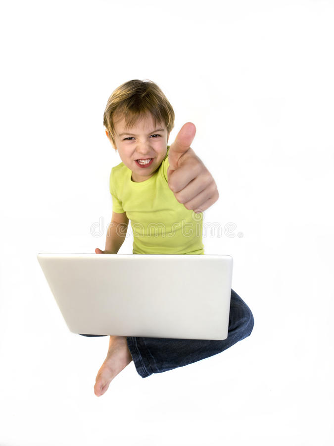 Free Boy With Laptot Showing Ok Sign Royalty Free Stock Image - 21346726