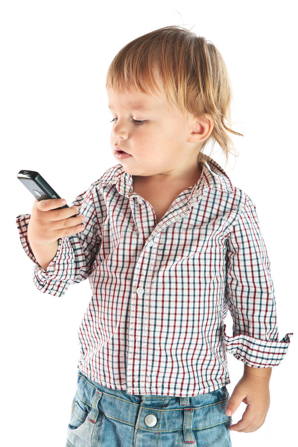 Free Boy With Phone Stock Photography - 17346212