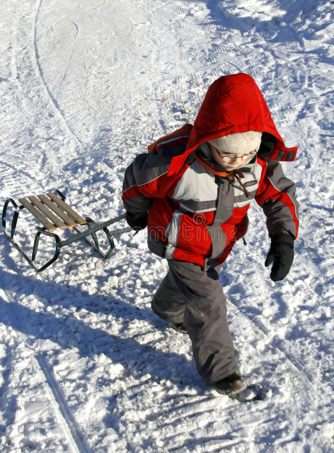 Free Boy With Sled Stock Image - 1732521