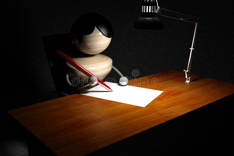 Boy write letter. Abstract boy write letter in night, black background royalty free illustration