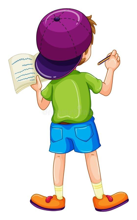 Boy writing vector illustration