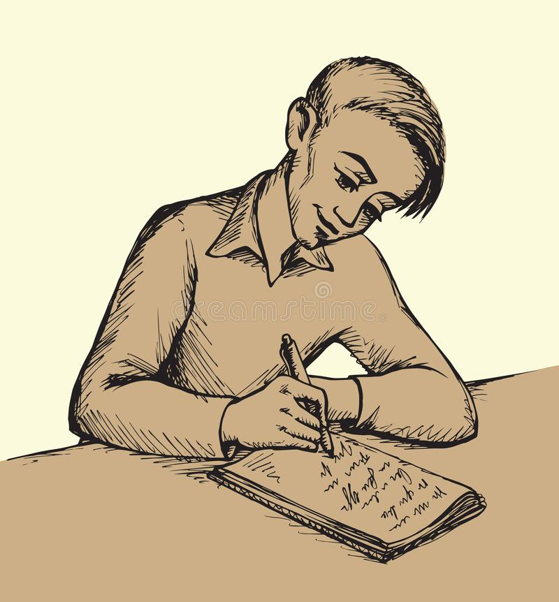 Boy is writing letter. Vector drawing stock illustration