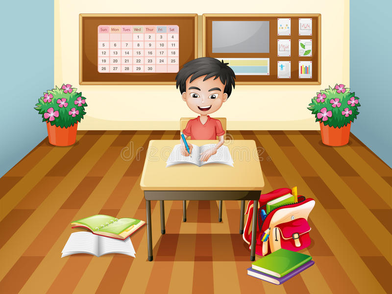A boy writing at the table vector illustration