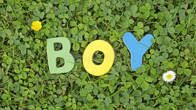 Download Boy written stock image. Image of grass, symbol, lucky - 33720565