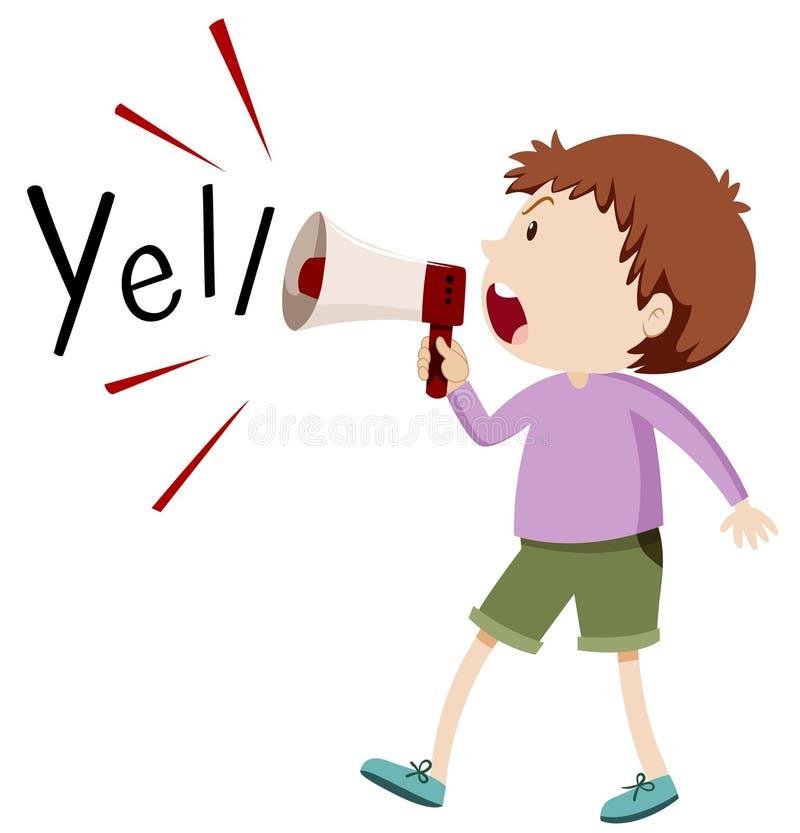 Boy yelling through speaker. Illustration vector illustration
