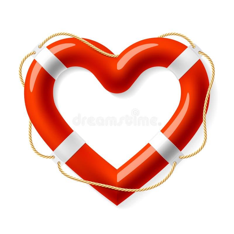 Boya de vida en la forma del corazón stock de ilustración
