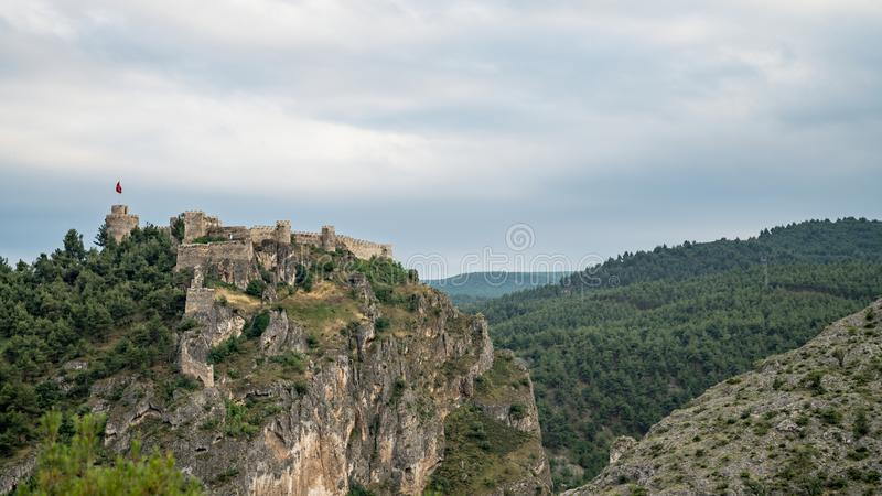 Historic Boyabat Castle in Sinop city, Turkey. Boyabat, Turkey - June 2018: Historic Boyabat Castle in Sinop city, Turkey royalty free stock images