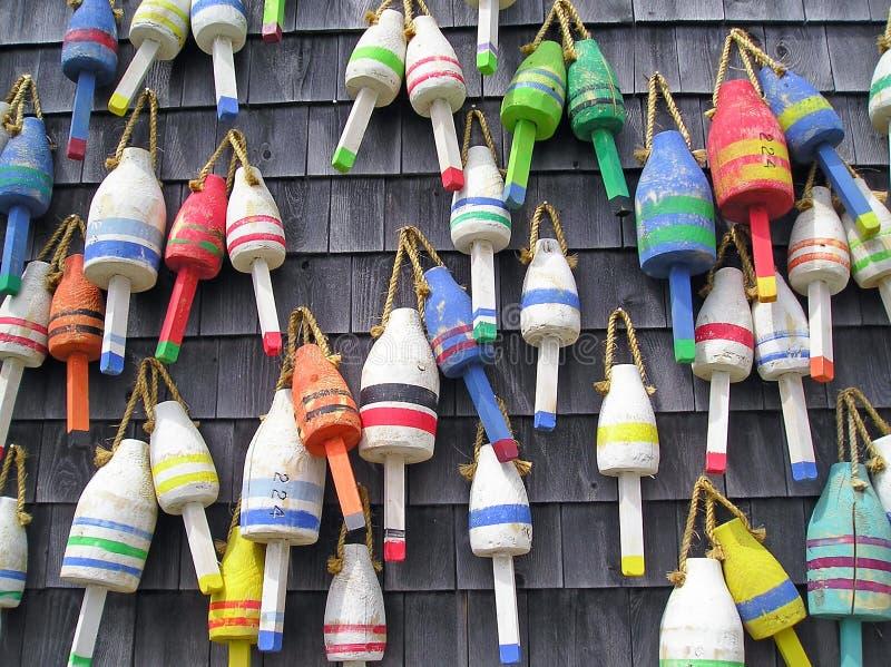 Boyas coloridas de la langosta de Maine fotos de archivo libres de regalías