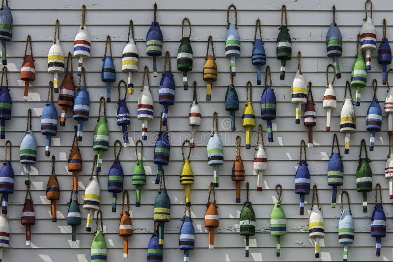 Boyas coloridas de la langosta de Maine foto de archivo libre de regalías