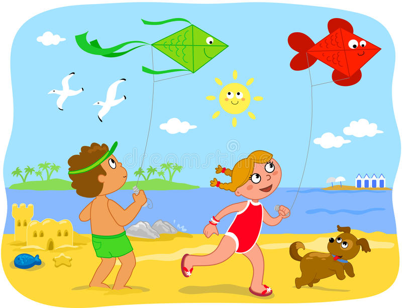 Download BoyBoy And Girl Playing With Kites At The Beach Stock Vector - Image: 25446867
