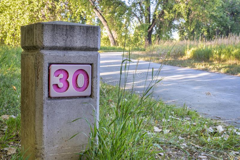 Boyd Lake bike trail. Distance marker on Boyd Lake bike trail in northern Colorado, summer morning scenery stock photography