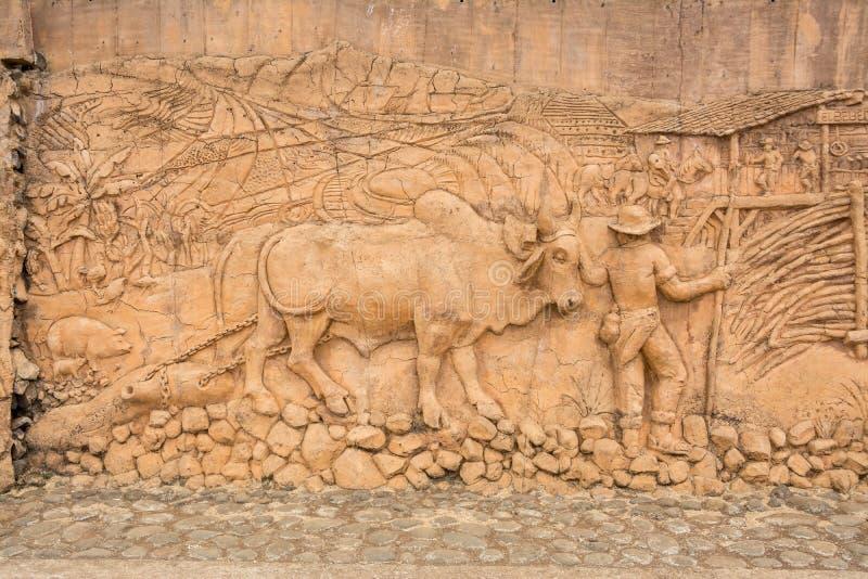 Boyero monument. Magnificent monument for the ox drivers or boyeros in San Antonio de Escazu, Costa Rica by Mario Parra royalty free stock images