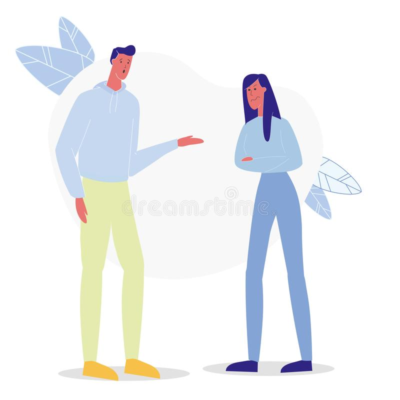 Boyfriend and Girlfriend Arguing Flat Illustration. Couple Having Conflict, Disagreement. Man and Woman Talking, Discussing Problems. Angry Annoyed Girl, Guy vector illustration