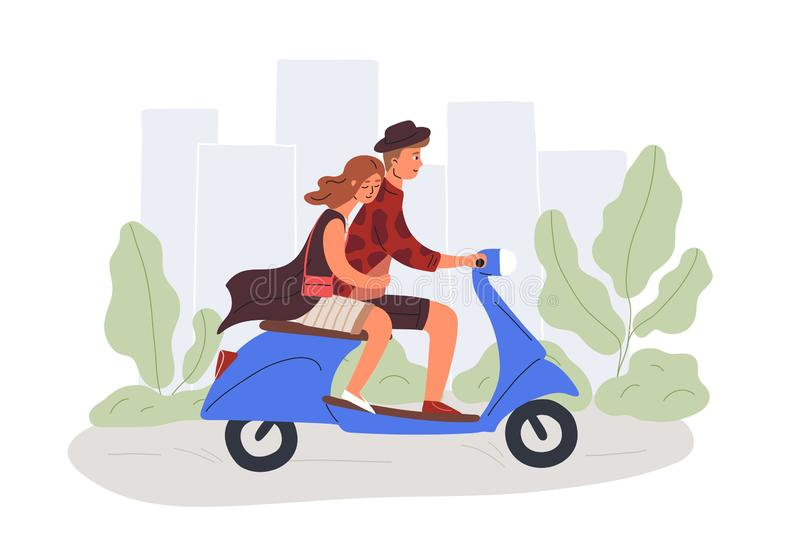 Boyfriend and girlfriend riding scooter flat vector illustration. Male and female cartoon characters on romantic date. Couple in love driving urban transport stock illustration