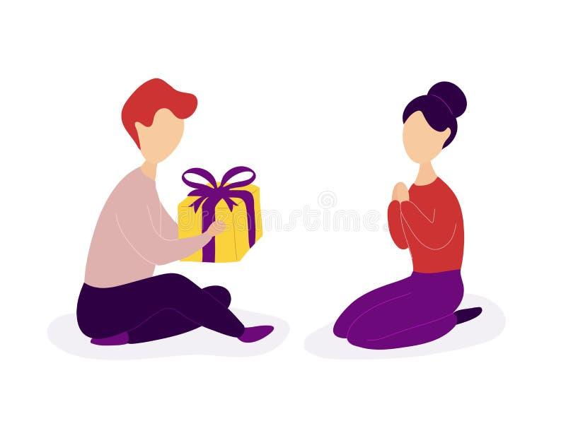 Boyfriend giving romantic gift to girlfriend stock illustration